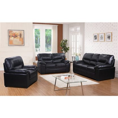 An Image of Rachel LeatherGel And PU Sofa Suite In Black