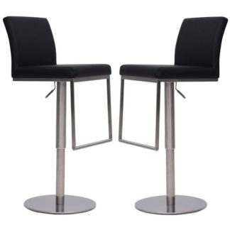 An Image of Bahama Bar Stools In Black Faux Leather In A Pair