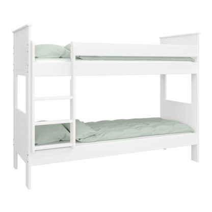 An Image of Alba Wooden Children Narrow Bunk Bed In White