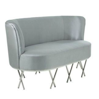 An Image of Oprah 2 Seater Sofa In Grey Silk With Silver Legs