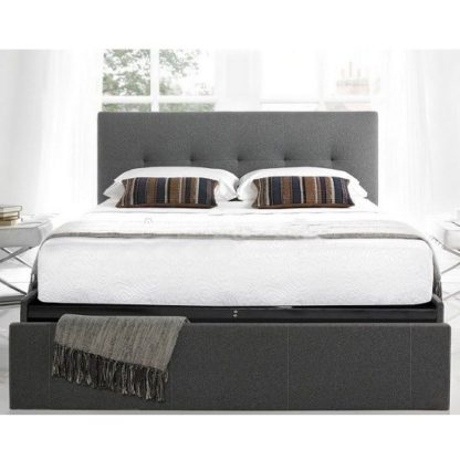 An Image of Wesley Fabric King Size Bed In Smoke Grey With 1 Drawer