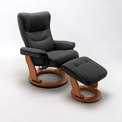 An Image of Gumala Recliner Leather Armchair In Black With Footstool