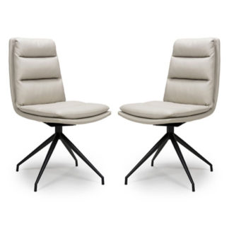 An Image of Nobo Taupe Faux Leather Dining Chair In A Pair With Black Legs