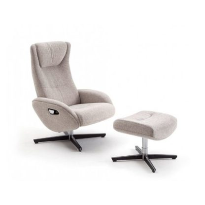 An Image of Deneb Recliner Fabric Armchair In Beige With Footstool