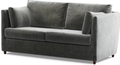 An Image of Custom MADE Milner Sofa Bed with Memory Foam Mattress, Steel Grey Velvet