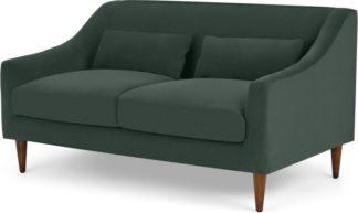 An Image of Herton 2 Seater Sofa, Autumn Green Velvet