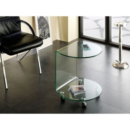 An Image of Cologne Side Table In Clear Bent Glass With Wheels