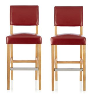 An Image of Vibio Bar Stools In Red PU With Oak Legs In A Pair