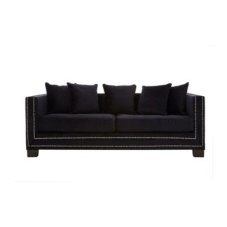 An Image of Pipirima 3 Seater Velvet Sofa In Black