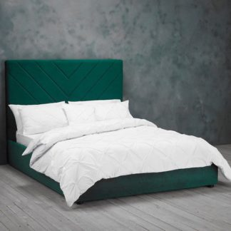 An Image of Islington Double Fabric Bed In Forest Green