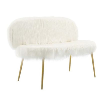 An Image of Merope Faux Fur Sofa In White With Gold Finish Metal Legs