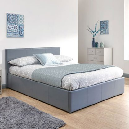 An Image of Side Lift Ottoman Faux Leather Double Bed In Grey
