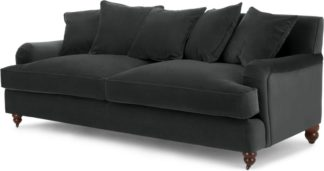 An Image of Orson 3 Seater Sofa, Scatterback, Midnight Grey Velvet