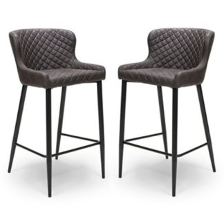 An Image of Charlie Grey Leather Bar Stool In Pair With Metal Base