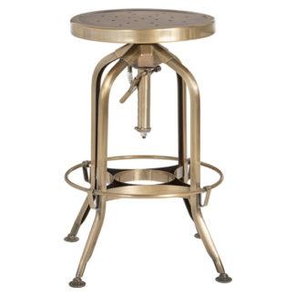 An Image of Dofida Adjustable Steel Industrial Style Stool In Brass