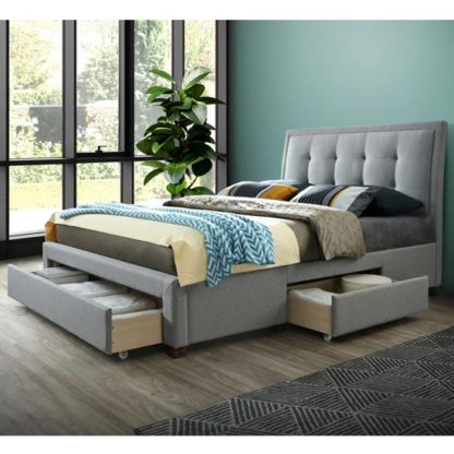An Image of Shelby Fabric Double Bed In Grey