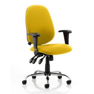 An Image of Lisbon Office Chair In Senna Yellow With Arms