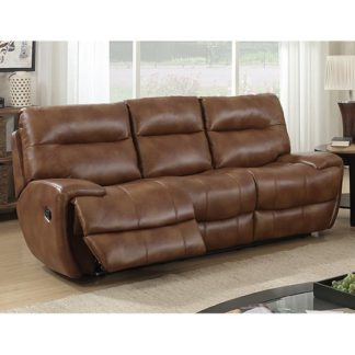 An Image of Orionis LeatherGel And PU Recliner 3 Seater Sofa In Brown