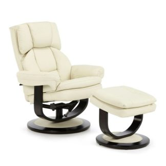 An Image of Cosimo Recliner Chair In Cream Bonded Leather With Footstool
