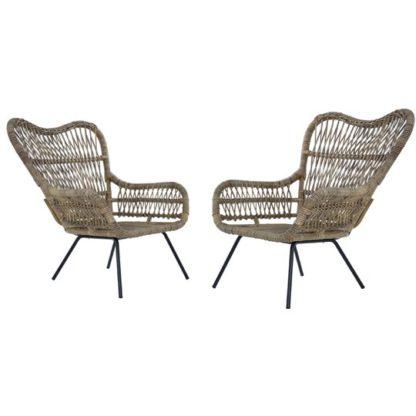 An Image of Kalausi Kubu Rattan Chair In Pair