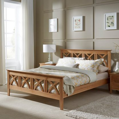 An Image of Maiden Wooden Double Bed In Oak