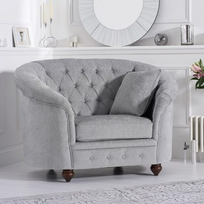 An Image of Astoria Chesterfield Sofa Chair In Grey Plush Fabric