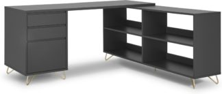An Image of Elona Corner Desk with Open Sideboard, Charcoal & Brass