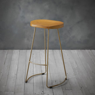 An Image of Bailey Gold Effect Leg Bar Stool With Pine Wood Seat