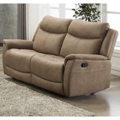 An Image of Arizona Fabric 2 Seater Electric Recliner Sofa In Caramel