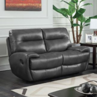 An Image of Orionis LeatherGel And PU Recliner 2 Seater Sofa In Grey