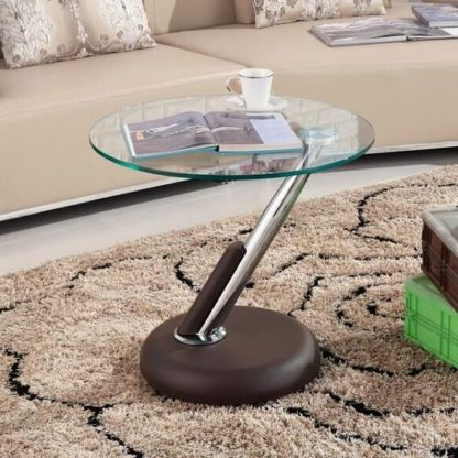 An Image of Tokyo Clear Glass Top Lamp Table In Brown