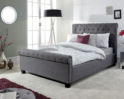 An Image of Neven Fabric Ottoman Storage King Size Bed In Grey
