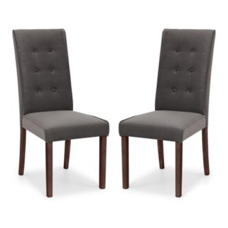 An Image of Madrid Grey Velvet Dining Chair In Pair