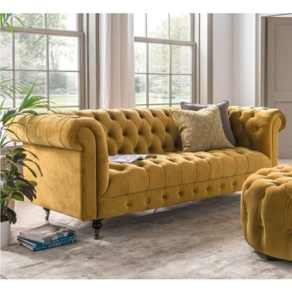An Image of Reedy Chesterfield Three Seater Sofa In Mustard And Metal Castor