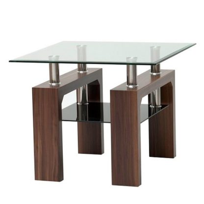 An Image of Tetro Glass End Table Square In Clear With Walnut Legs