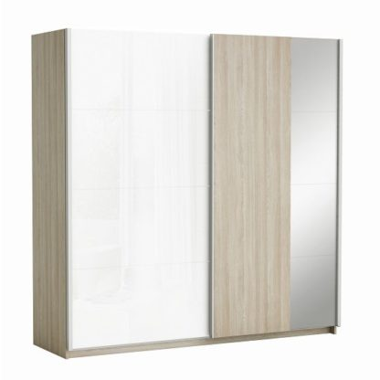 An Image of Kosmo Sliding Wardrobe Shannon Oak And Linen With 2 Doors