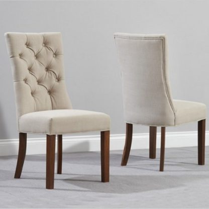 An Image of Tetras Fabric Dining Chair In Beige And Dark Oak In A Pair