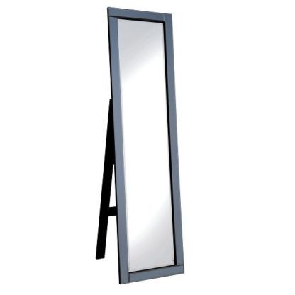An Image of Bevel Cheval Mirror FreeStanding In Smoke Grey Glass Border