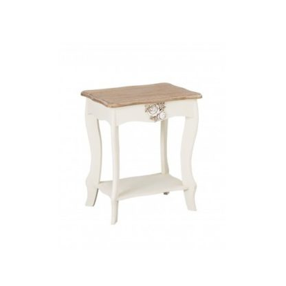 An Image of Julian Lamp Table In Cream And Distressed Wooden Effect