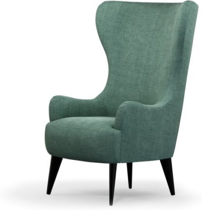 An Image of Custom MADE Bodil Accent Armchair, Duck Egg Blue with Black Wood Leg