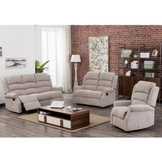An Image of Curtis Fabric Recliner Sofa Suite In Natural