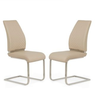 An Image of Adene Dining Chair In Taupe Faux Leather In A Pair
