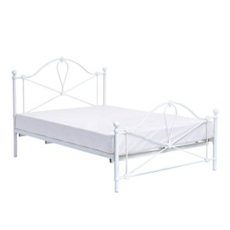 An Image of Bronte Metal King Size Bed In White