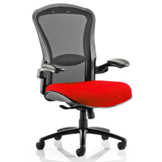 An Image of Houston Heavy Black Back Office Chair With Bergamot Cherry Seat