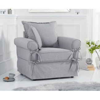 An Image of Riggs Linen Armchair In Grey With Padded Seat And Back
