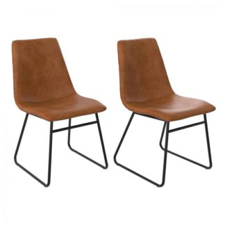 An Image of Bowden Caramel Maple Faux Leather Dining Chairs In Pair
