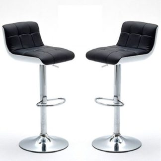 An Image of Bob Bar Stools In Black Faux Leather in A Pair