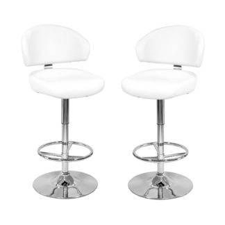 An Image of Casino White Leather Bar Stool In Pair