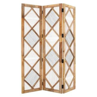 An Image of Bettina Wooden 3 Sections Room Divider In Natural
