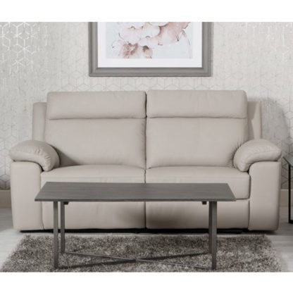 An Image of Enzo Faux Leather Fixed 3 Seater Sofa In Putty